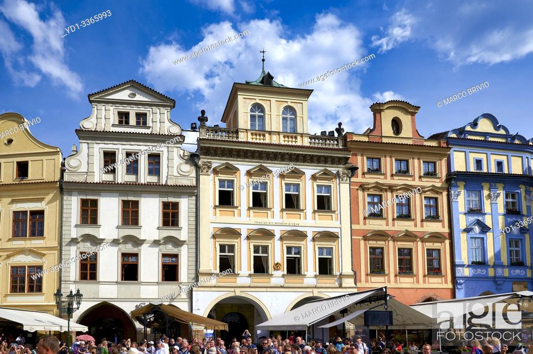 Stock Photo: Prague Czech Republic. Historical buildings in Old Town Square.