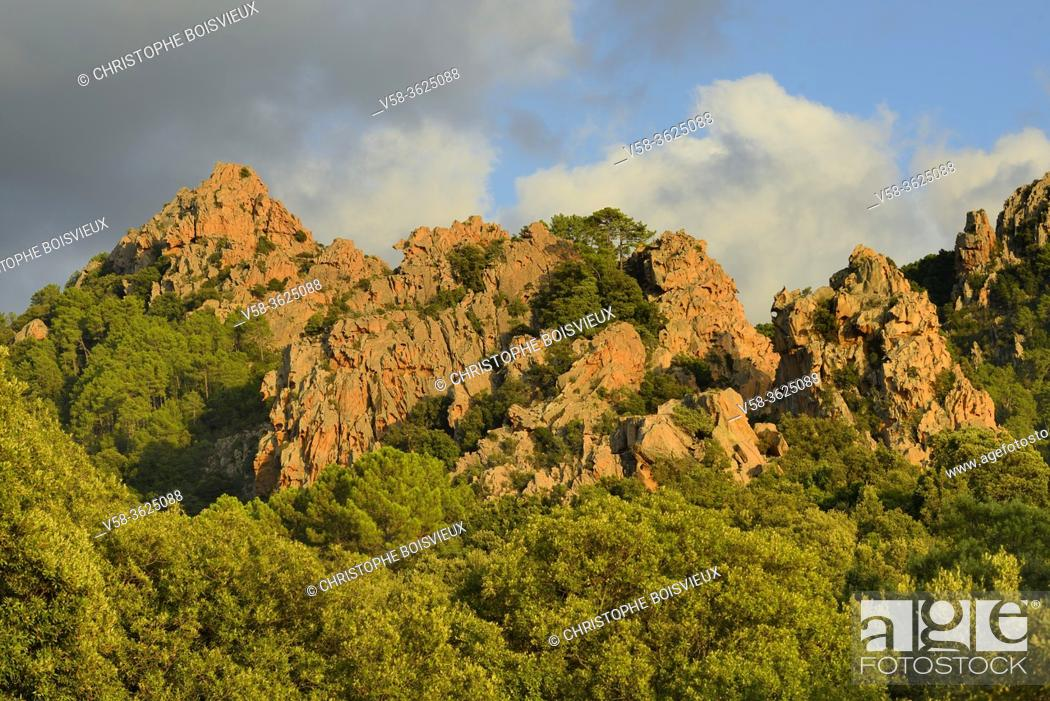 Stock Photo: France, Corsica, Corse du Sud, Gulf of Porto, Unesco World Heritage Site, Calanches of Piana.