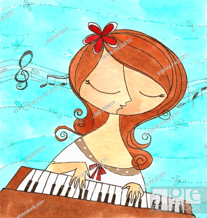Stock Photo: A woman playing the piano.