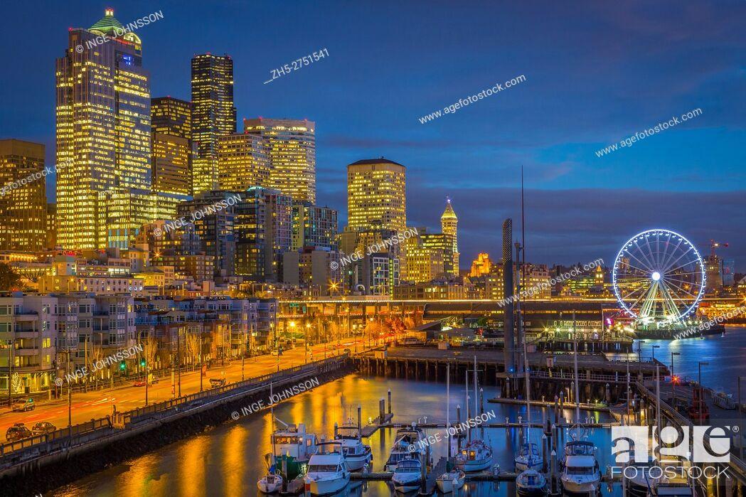 Stock Photo: Seattle skyline from Pier 66. The Seattle Great Wheel is a giant Ferris wheel at Pier 57 on Elliott Bay in Seattle, Washington.
