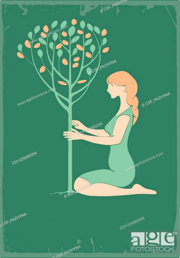Stock Vector: Girl and tree.