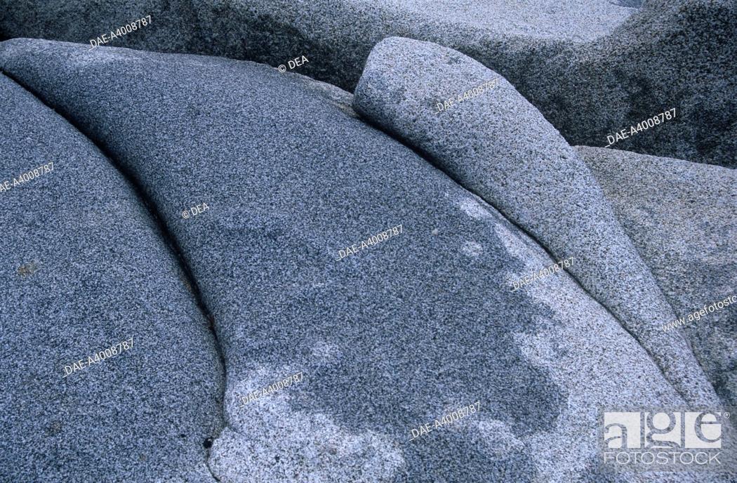 Stock Photo: Italy - Sardinia Region - Surroundings of Villasimius, province of Cagliari - Punta Molentis, granite rocks.
