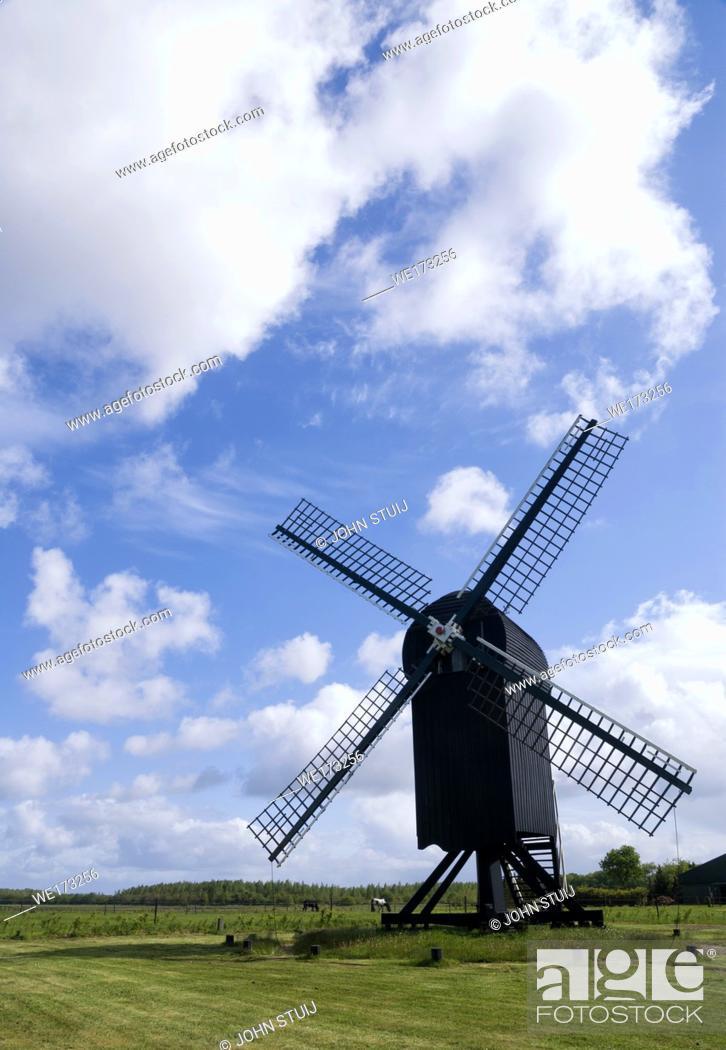 Stock Photo: Standerd mill Ter Haar near Ter Apel in the Dutch province Groningen.