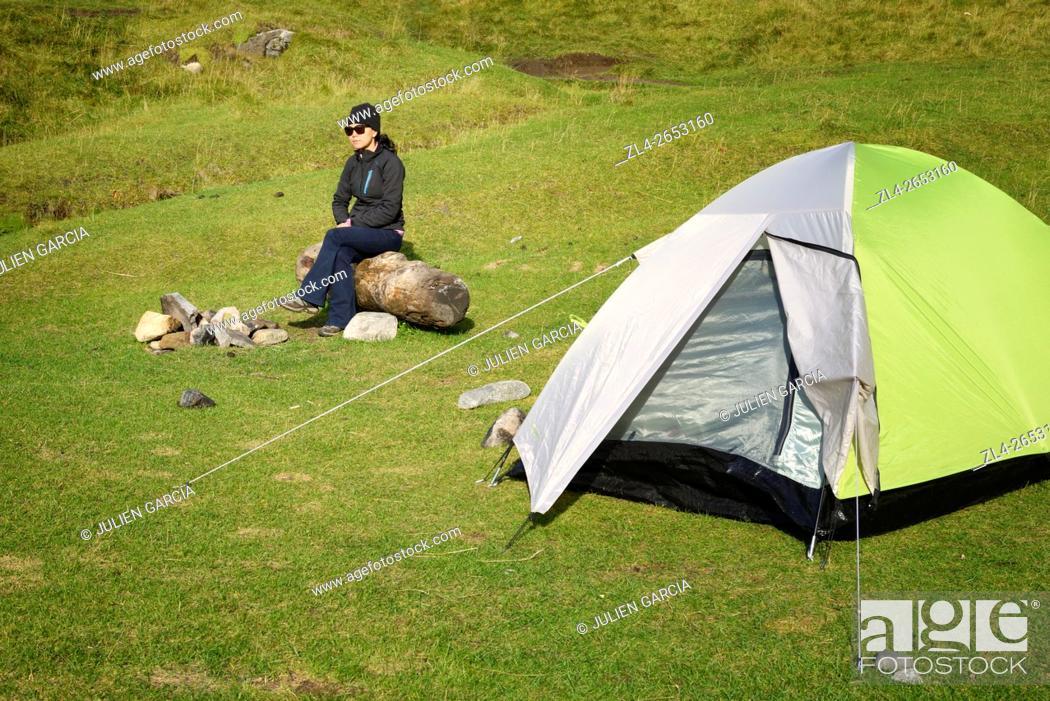 Stock Photo: Norway, Nordland, Lofoten islands, Moskenesoy island, camping on the isolated beach of Kvalvika, Model Released.