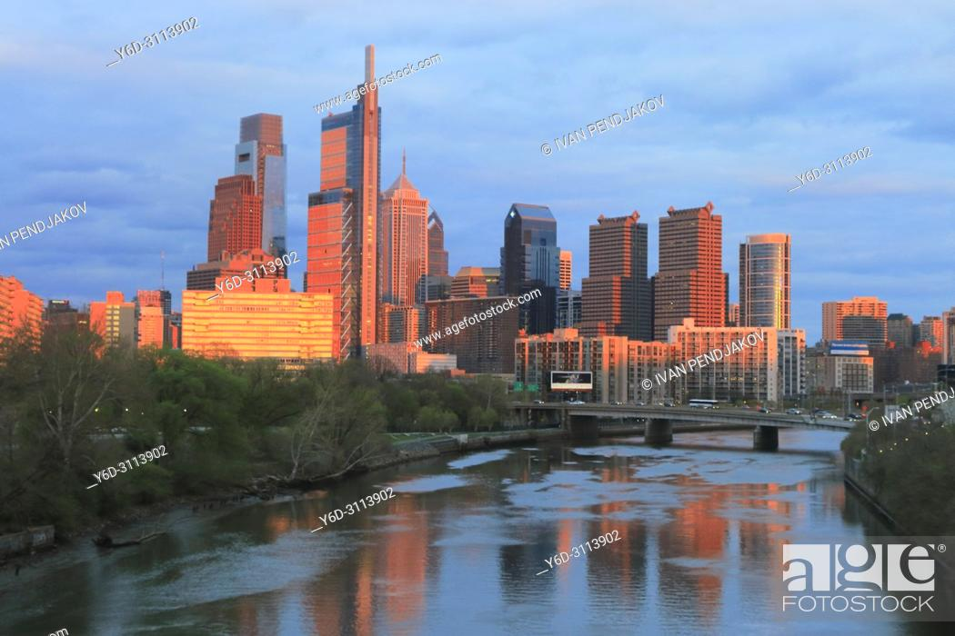 Stock Photo: Philadelphia at Sunset, Pennsylvania, USA.