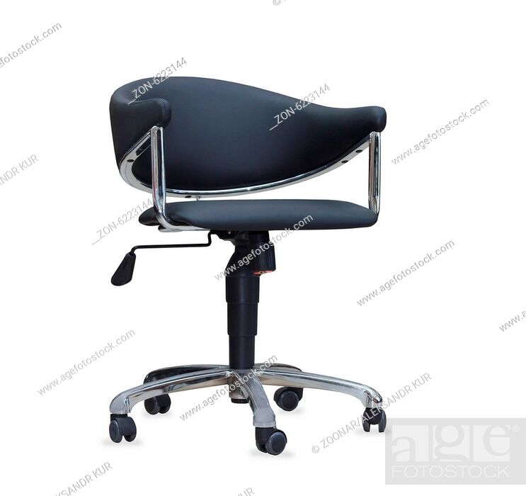 Stock Photo: The office chair from black leather. Isolated.
