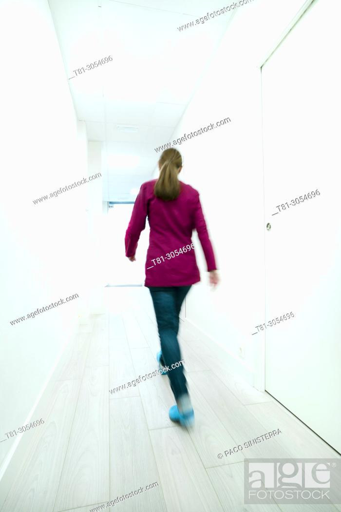 Stock Photo: doctor in the corridors, Castellon, Spain.