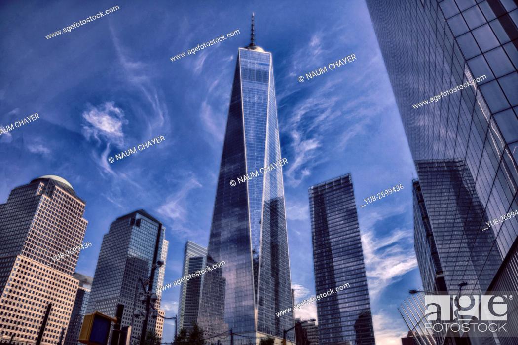 Stock Photo: Dramatic image of One World Trade Center, New York, New York State, Lower Manhattan, USA.