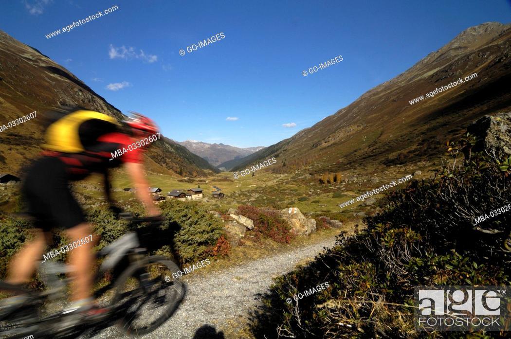 Stock Photo: Mountainbiking close Davos, Canton of Grisons, Switzerland,.