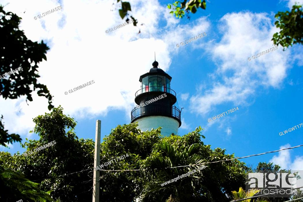 Stock Photo: Low angle view of a lighthouse, Key West Lighthouse Museum, Key West, Florida, USA.