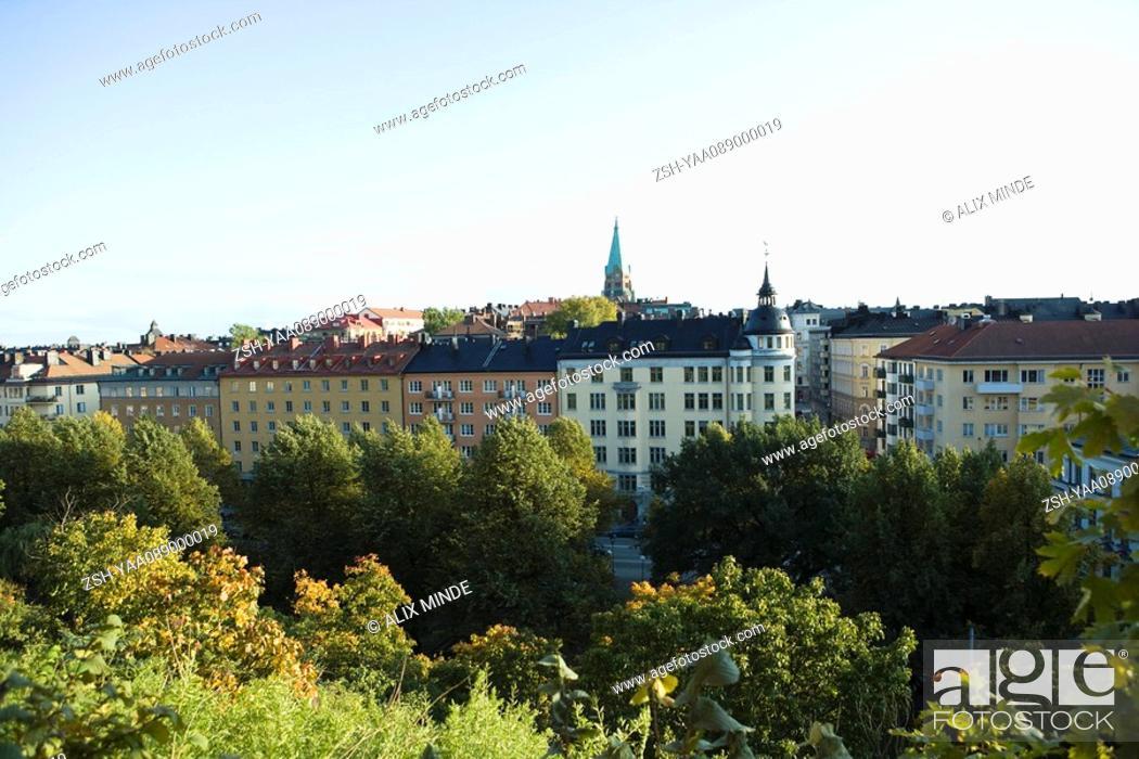 Stock Photo: Sweden, Sodermanland, Stockholm, buildings rising above treetops.