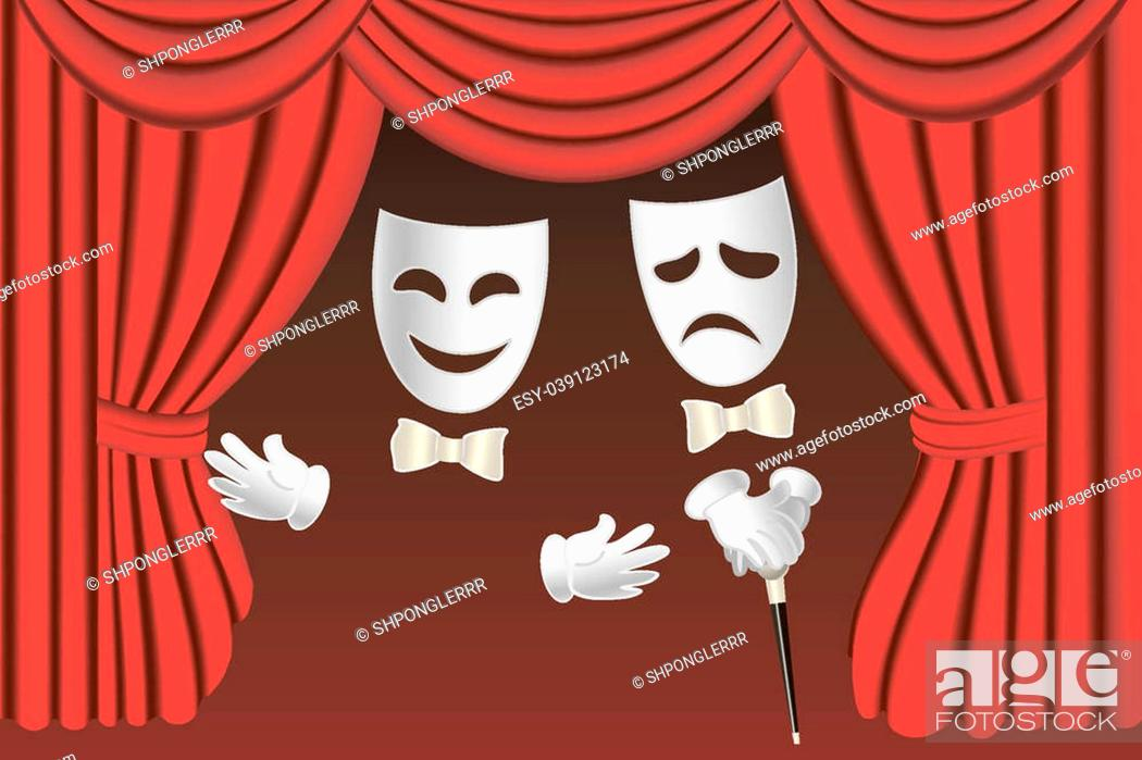 Photo de stock: Classical white theater masks and classical red theater curtains.