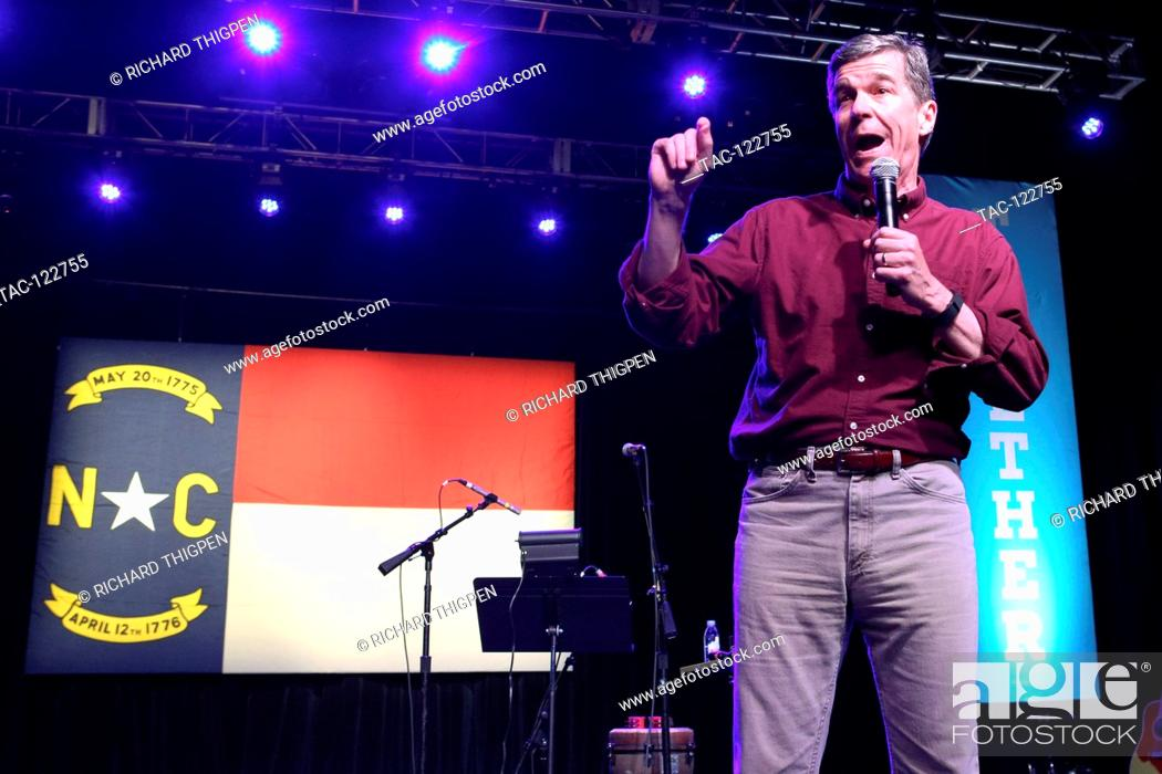 Stock Photo: Gubernatorial candidate Roy Cooper speaks at the Fillmore Charlotte to remind voters to get out and vote on Tuesday, November 8th.