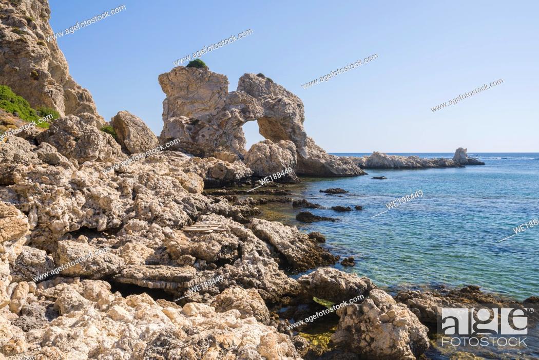 Stock Photo: Landscape of Grande Blue Stegna beach (Secret beach), Rhodes, Greece.