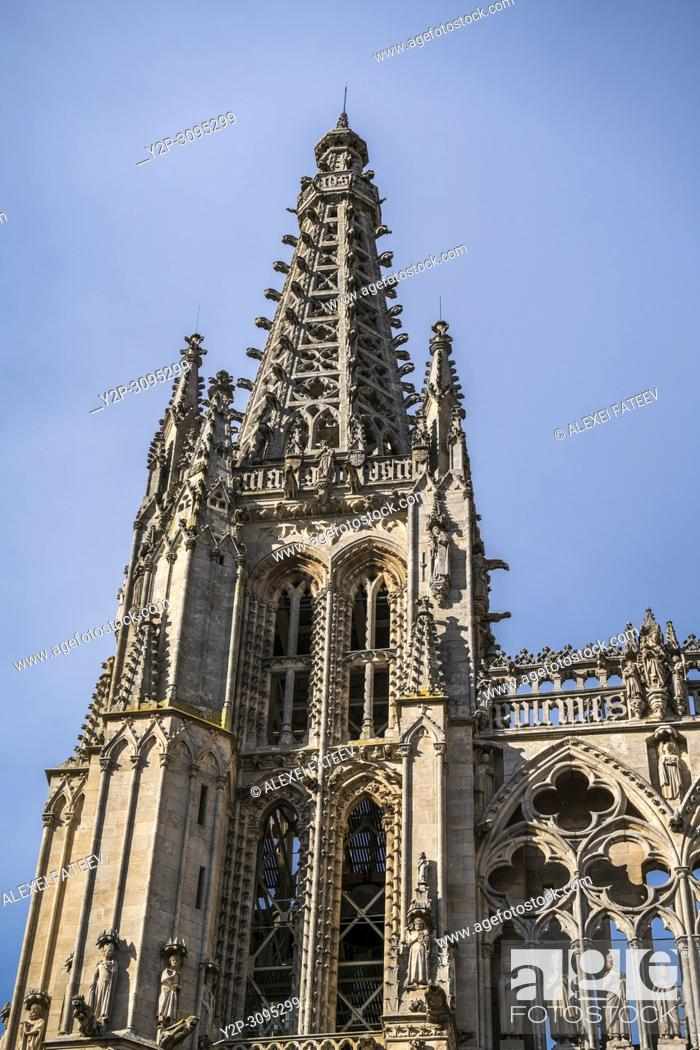 Stock Photo: 13th century tower of Catedral de Santa María in Burgos, Castile and Leon, Spain.