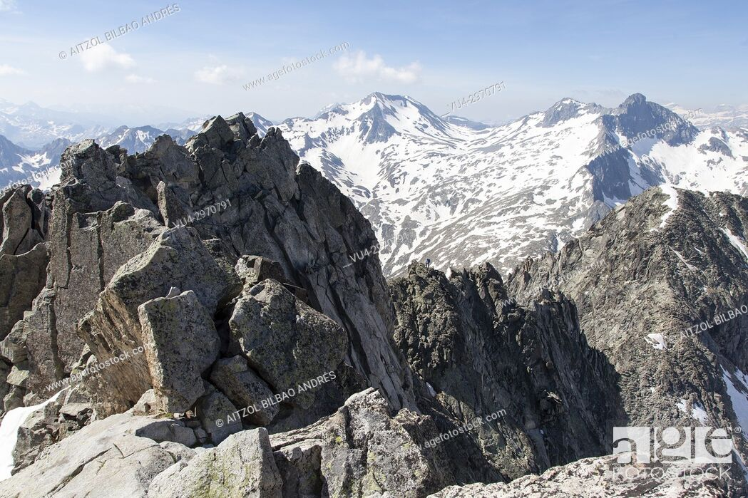 Stock Photo: The south east ridge of Neouvielle, french pyrenees. Last snows of the season.