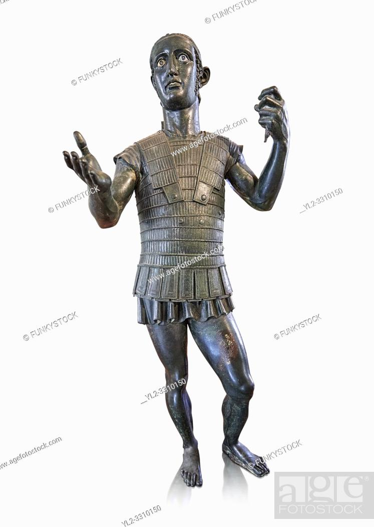 Stock Photo: Etruscan bronze statue portraying a nearly life size young warrior dressed in armour, offering a libation of wine to a divinity ( patera style cup missing) Made.