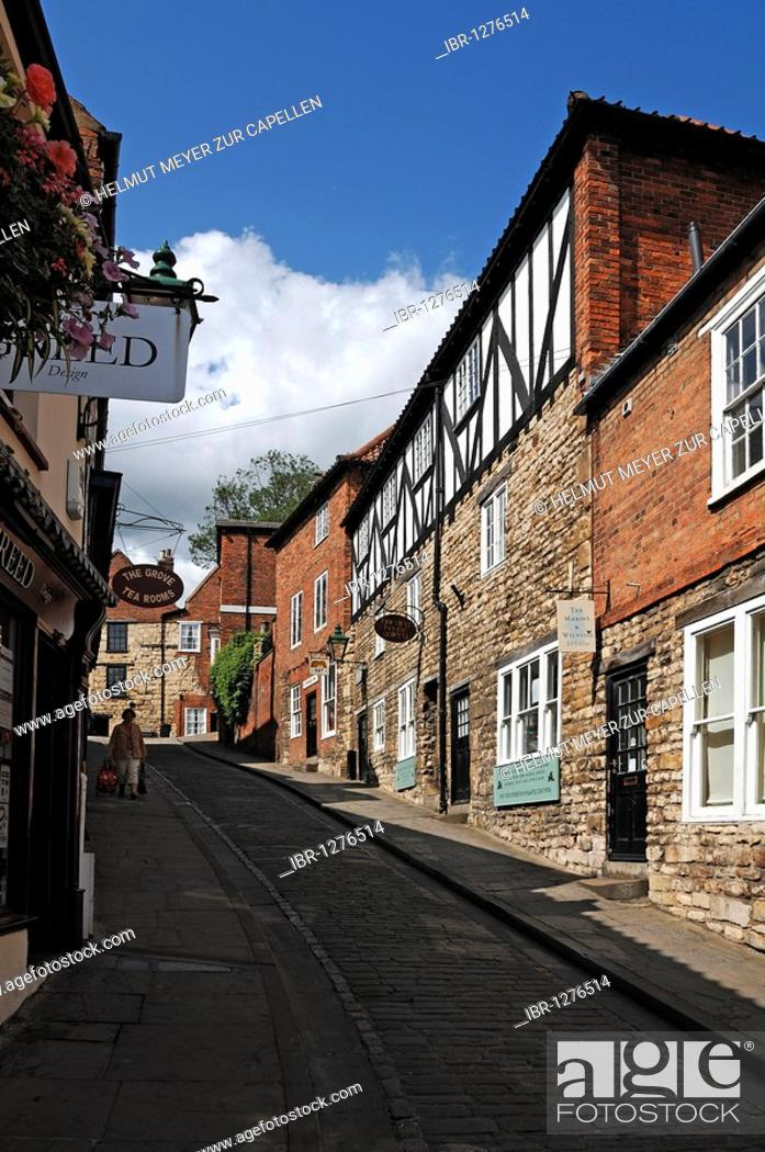 Old street with old houses, Steep Hill, Lincoln