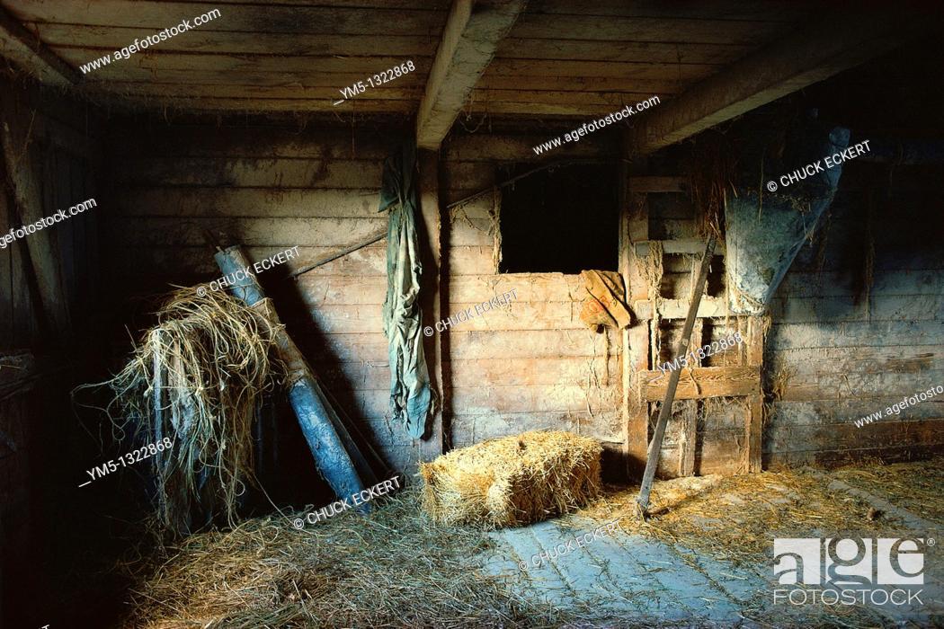 Stock Photo: Still-life of old barn interior.