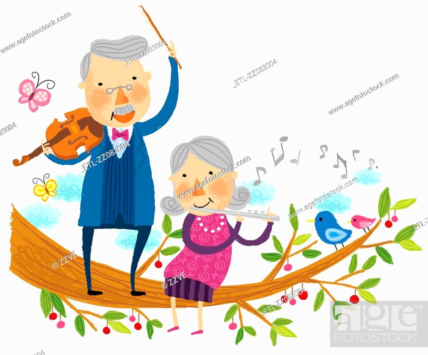Stock Photo: Elderly couple playing musical instruments.