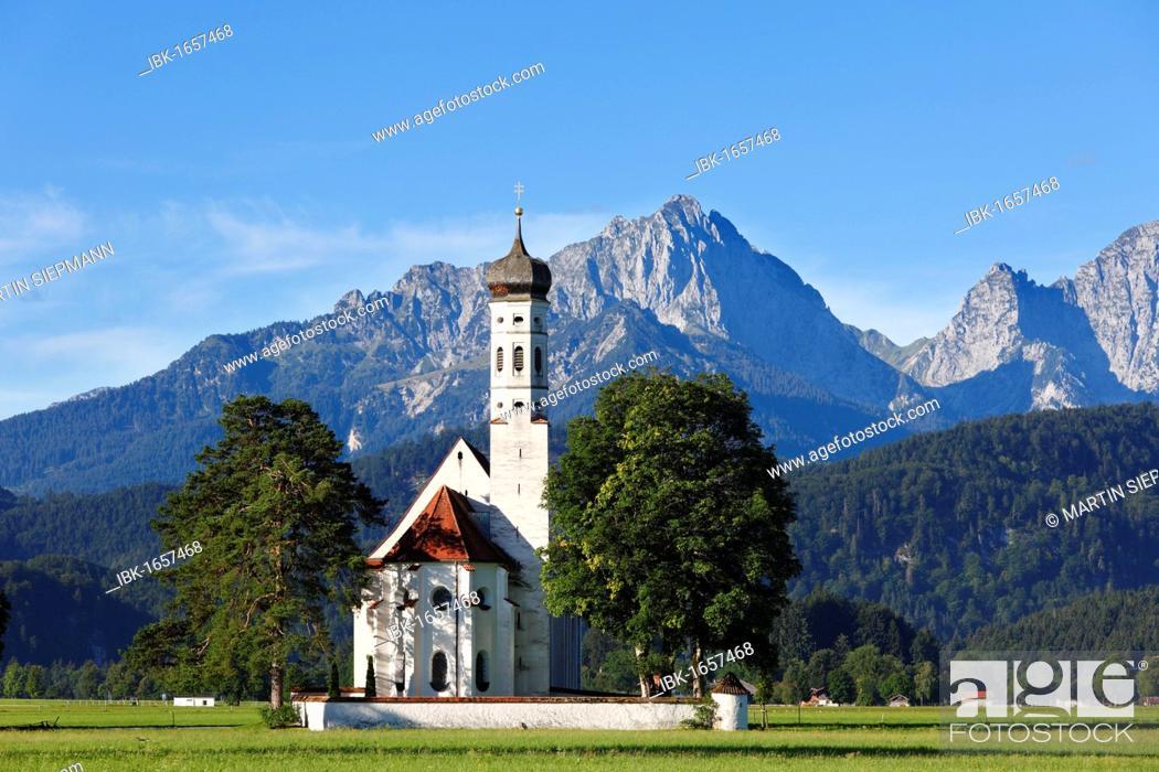 Stock Photo: Church of St. Coloman or Colomanskirche, Schwangau, in front of the Tannheimer Mountains, Ostallgaeu, Allgaeu, Schwaben, Bavaria, Germany, Europe.