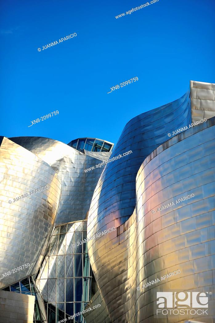 Stock Photo: Guggenheim museum, Bilbao, Euskadi, Biscay, Bizkaia, Basque Country, Spain, Europe.