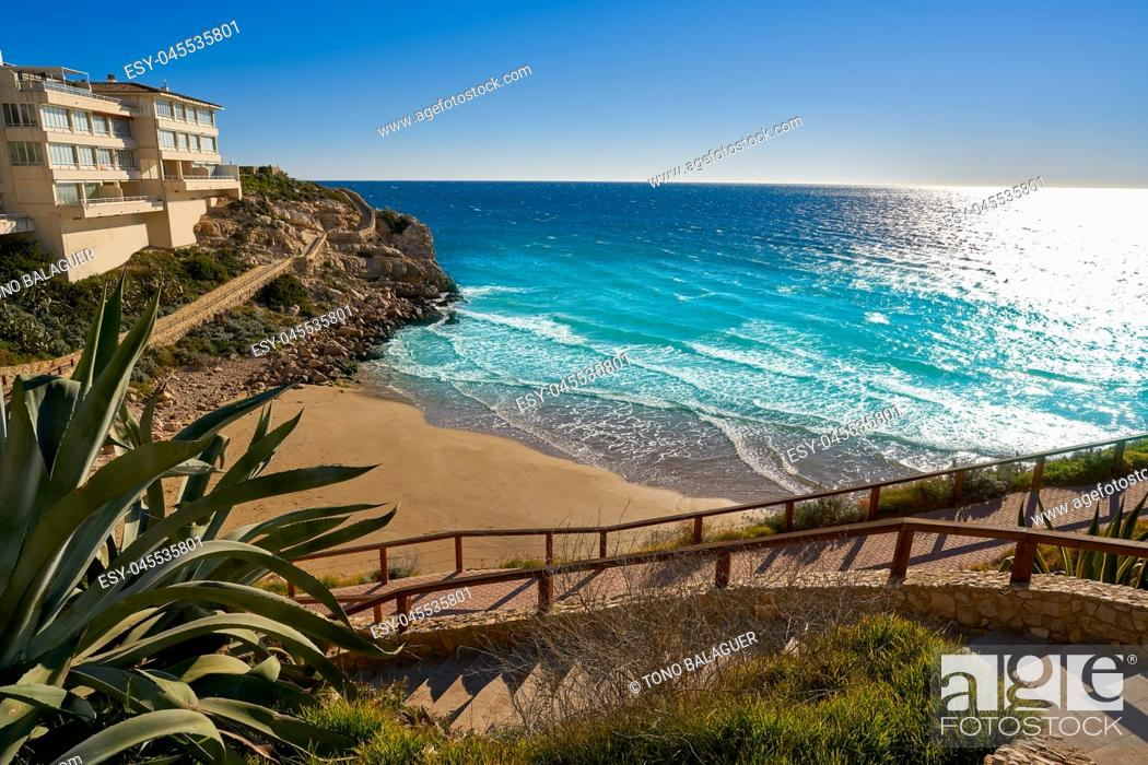 Stock Photo: Cala Llenguadets Platja Salou beach in Tarragona of Catalonia.