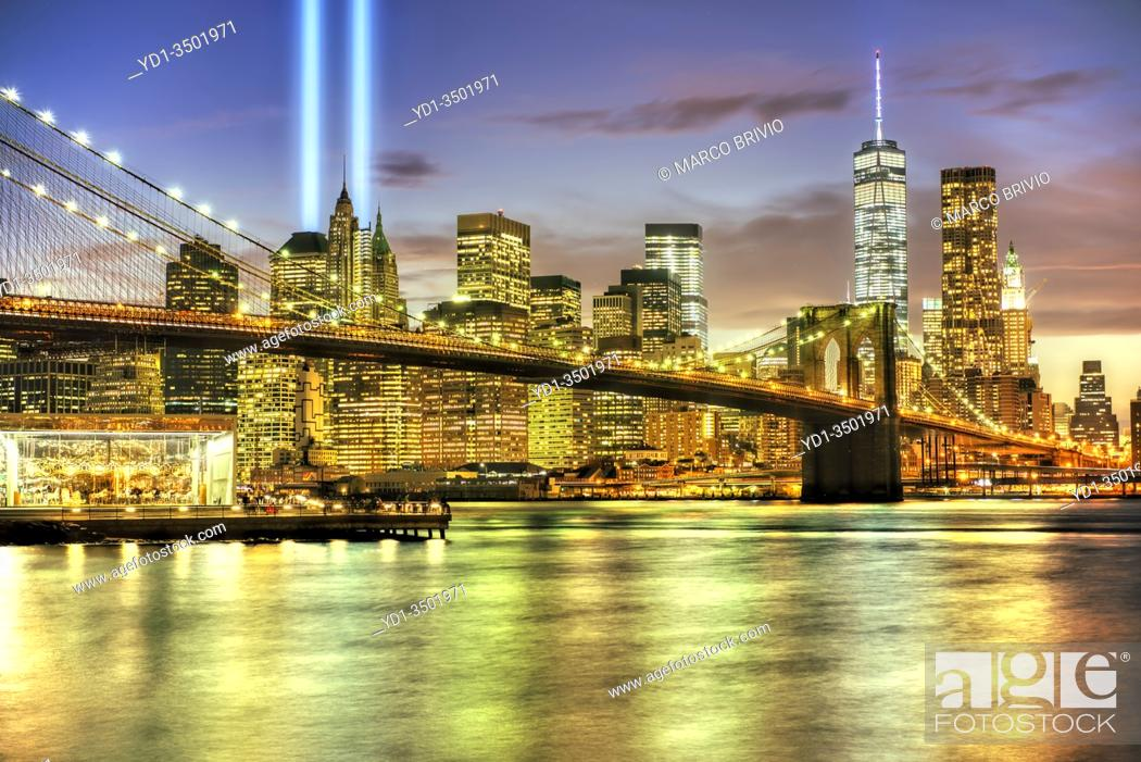 Stock Photo: New York. Manhattan. Tribute in Light. September 9/11.