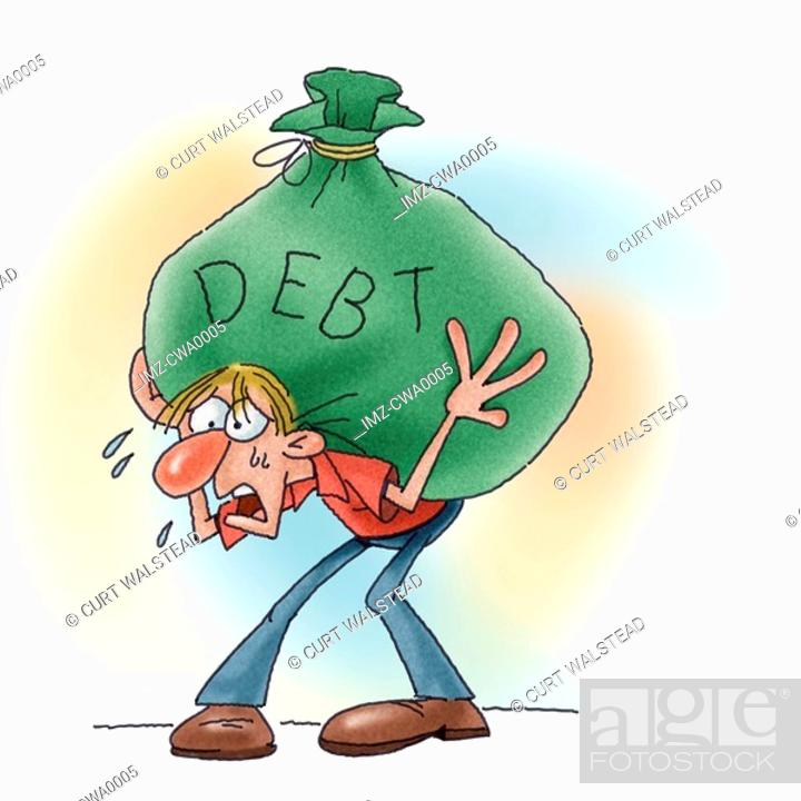 Stock Photo: A man with a load of debt on his back.