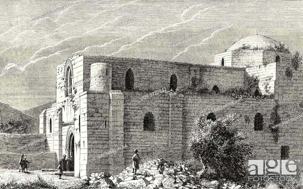 Photo de stock: Sant'Anna church, Jerusalem, Israel. Old 19th century engraved illustration Travel to Jerusalem by Alphonse de Lamartine from El Mundo en La Mano 1879.