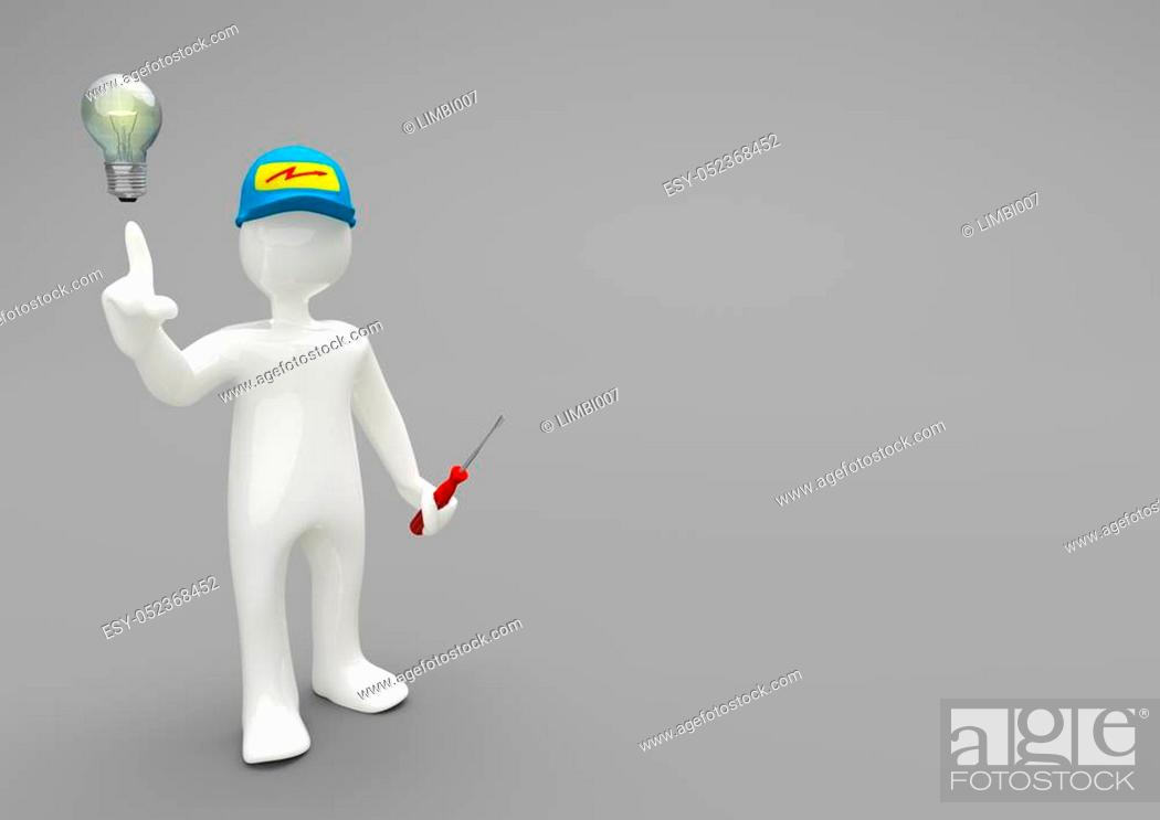 Stock Photo: Electrician with bulb and spanner on the gray background. 3d illustration.