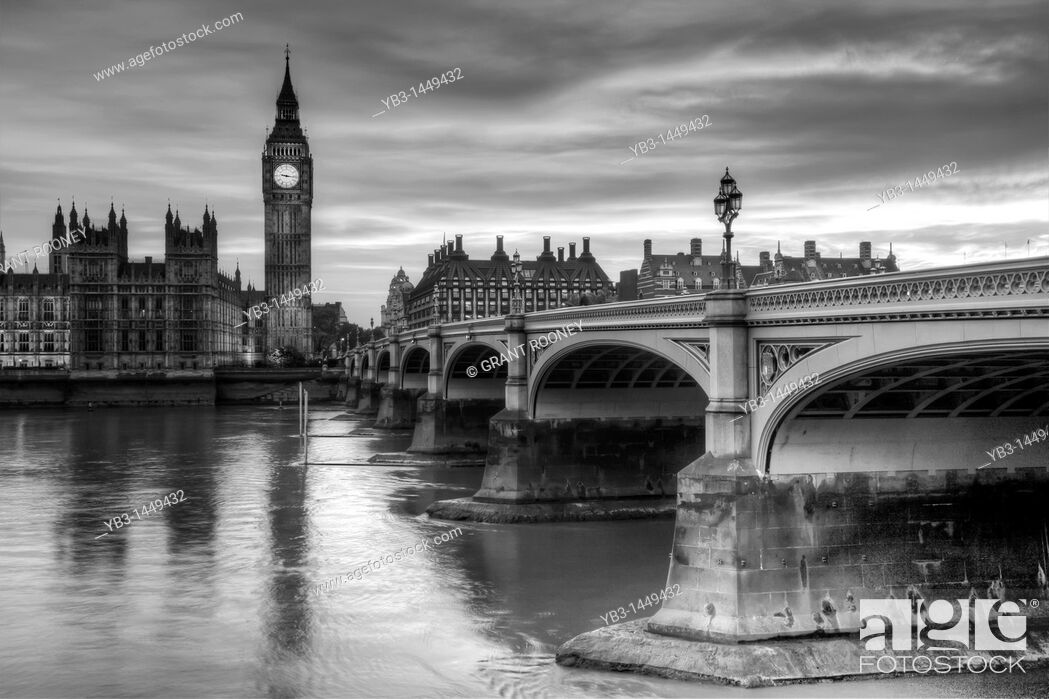 Stock Photo: The Houses of Parliament, Westminster Bridge and The River Thames, London, England.