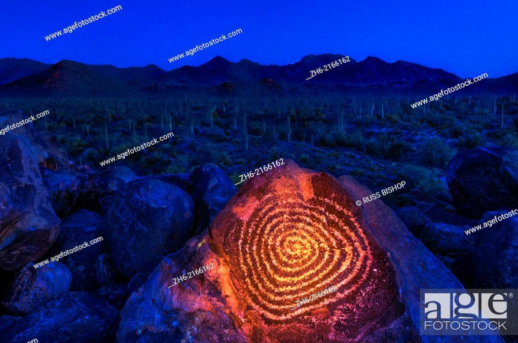 Stock Photo: Petroglyphs on Signal Hill, Saguaro National Park (Tucson Mountain District), Tucson, Arizona USA.
