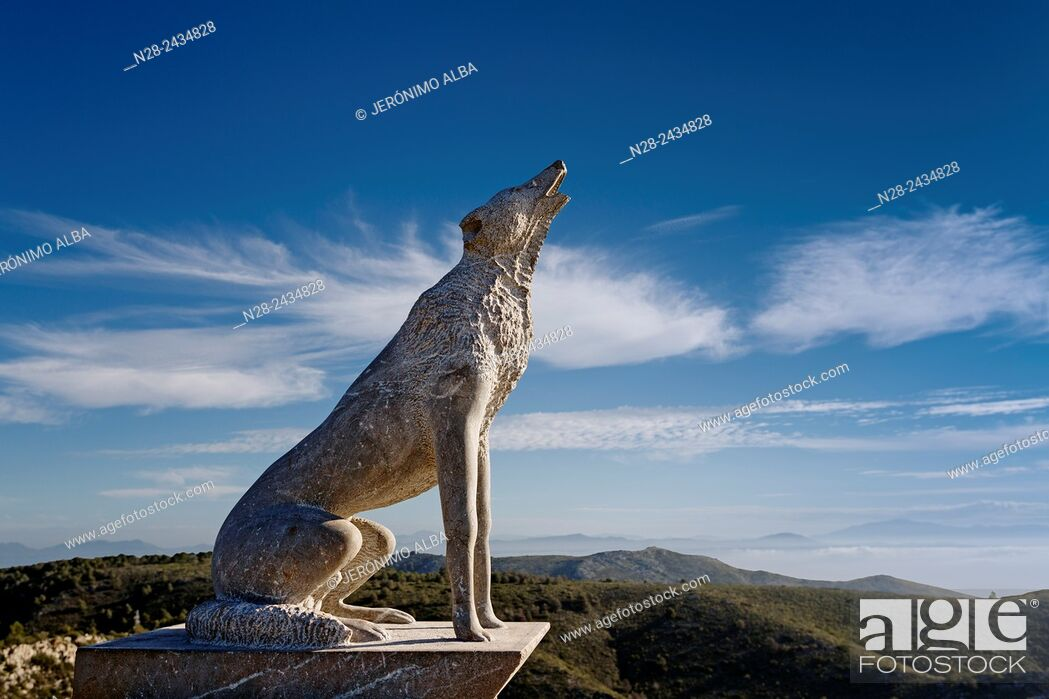 Stock Photo: Wolf sculpture, Cañada de los Lobos, Sierra Benalmadena, Malaga province, Andalusia, Spain.