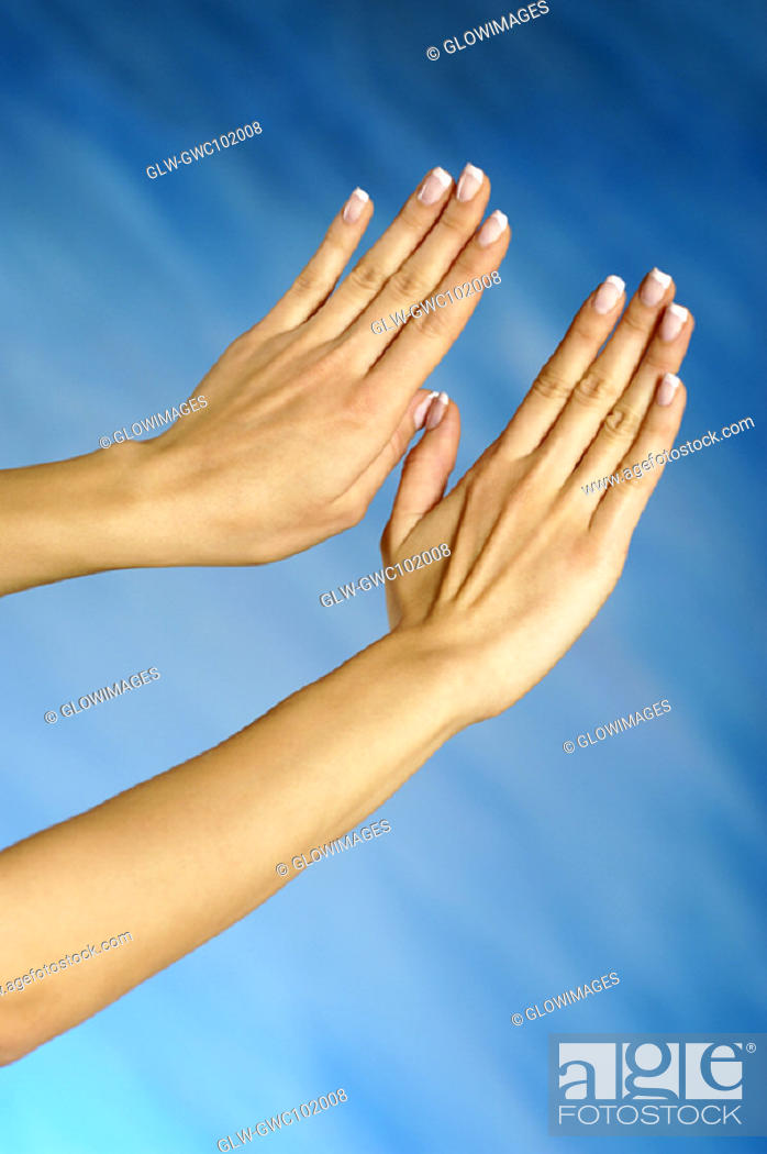 Stock Photo: Close-up of a woman's hands making a stop gesture.