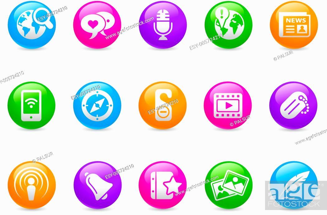 Stock Vector: Social Media Web Icons // Rainbow Series.