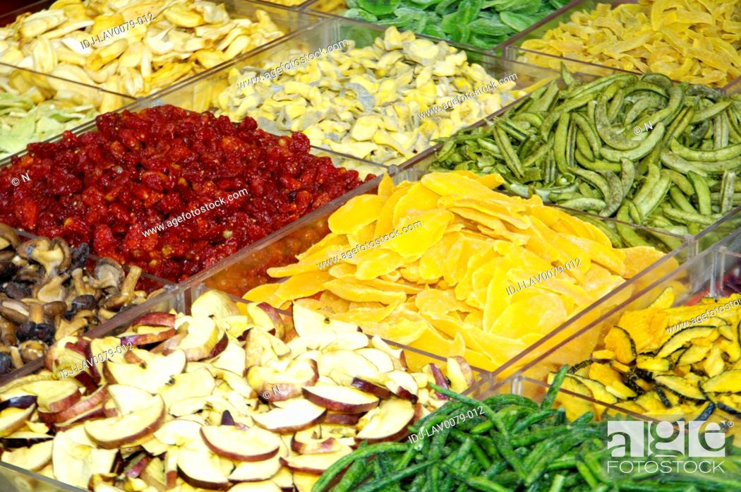 Stock Photo: Fruits and vegetables at a market stall, Dihua Street, Taipei, Taiwan.