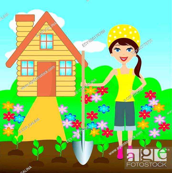Stock Vector: young woman plant flower in soil.