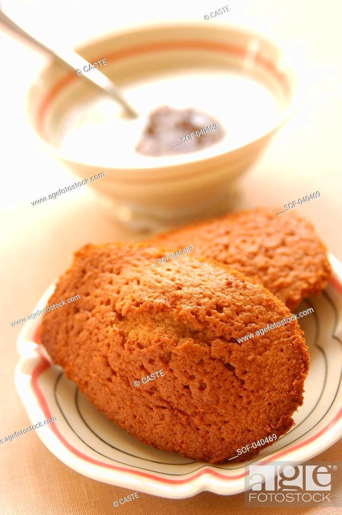 Stock Photo: chestnut madeleine sponge cakes.