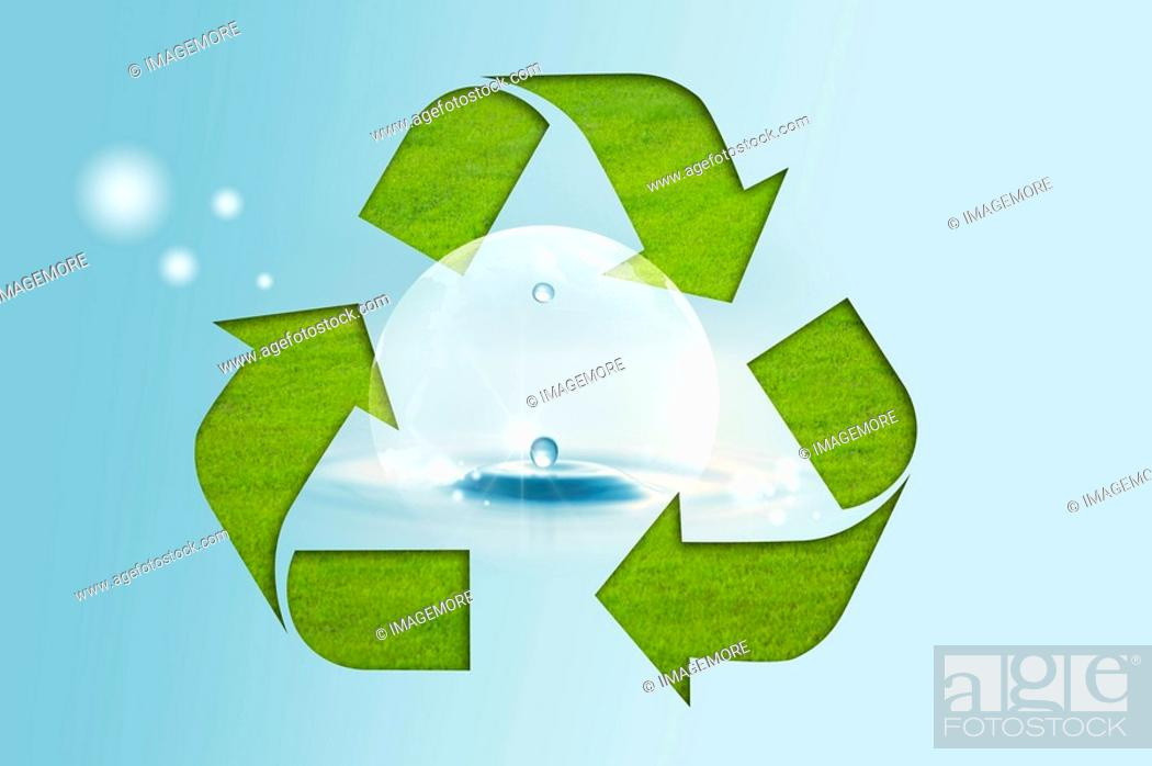 Stock Photo: Lohas, Environmental Conservation, Digitally generated image of recycling symbol with drops.