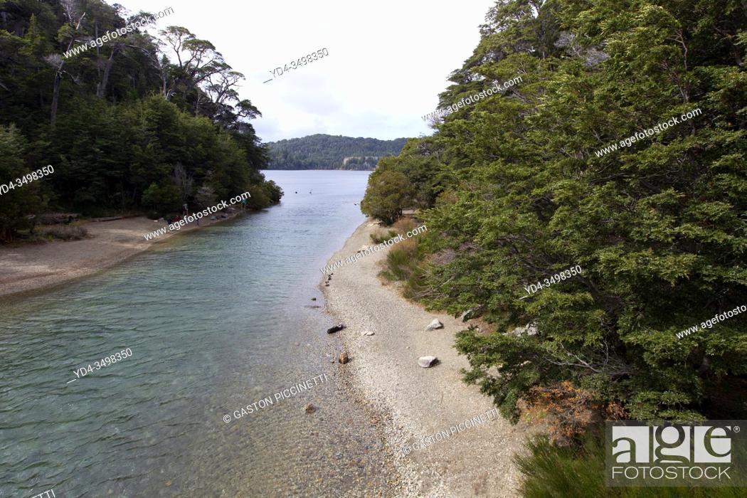 Stock Photo: San Carlos of Bariloche, Rio Negro, Argentina. August 25 2018: View from the bridge to the langostura stream, Bariloche, Argentina.