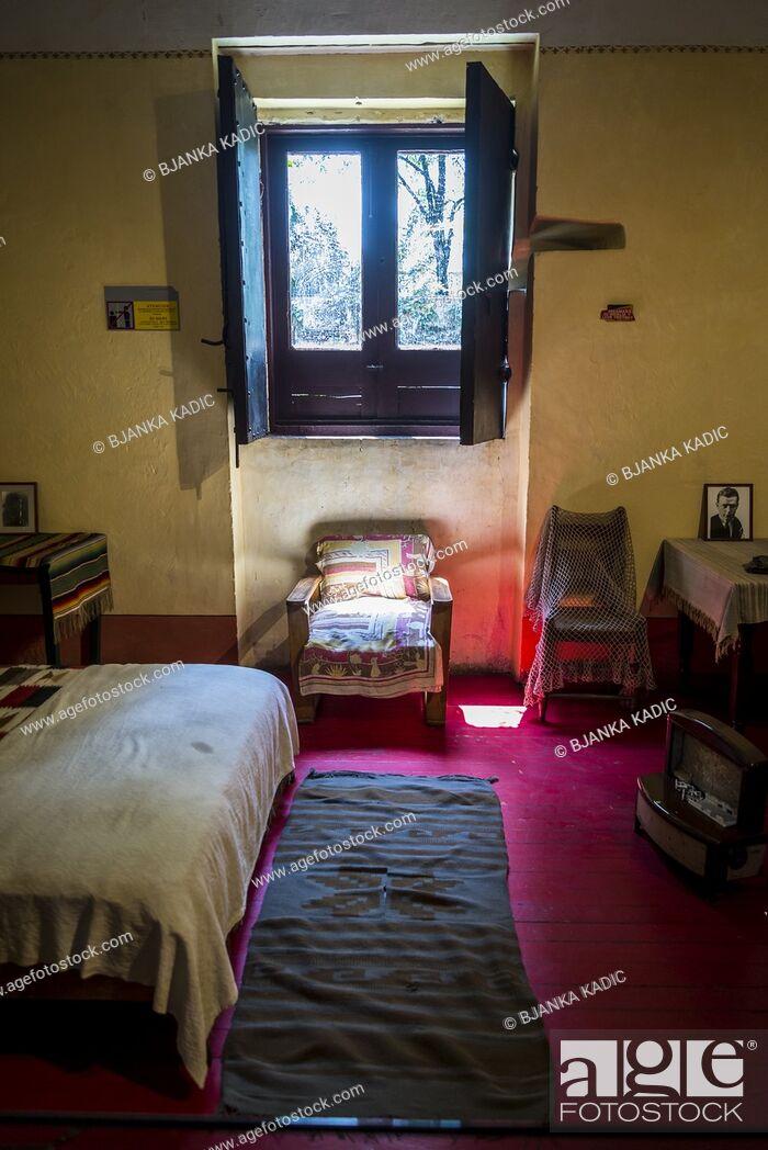 Photo de stock: Trotsky's bedroom, Leon Trotsky Museum, Coyoacan, Mexico City, Mexico.