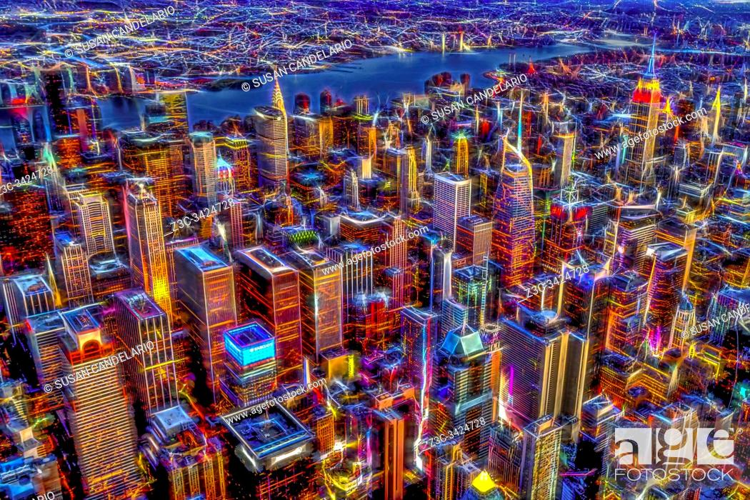 Stock Photo: Manhattan NYC Electrifying Pulse- Digitally enhanced aerial photograph above the Manhattan, New York City skyline.