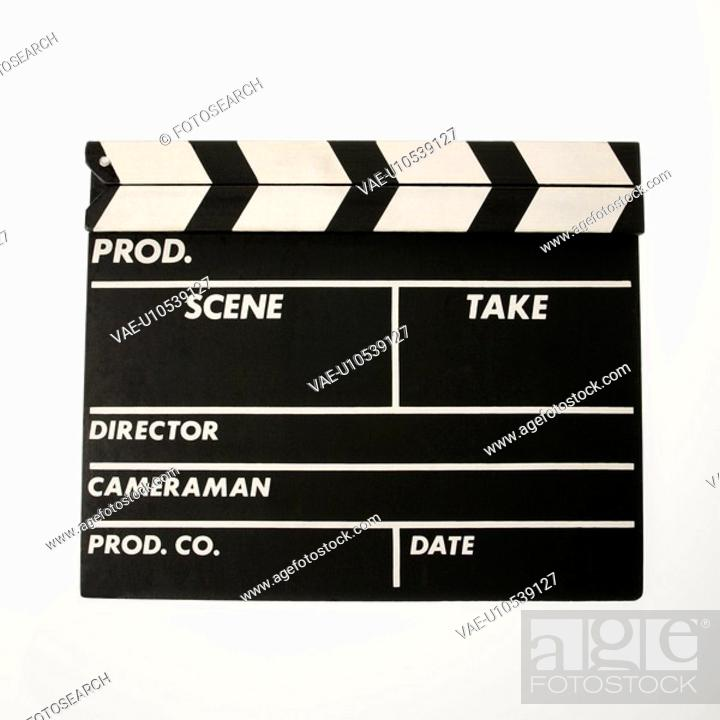 Stock Photo: Movie scene clapboard with blank copy space against white background.