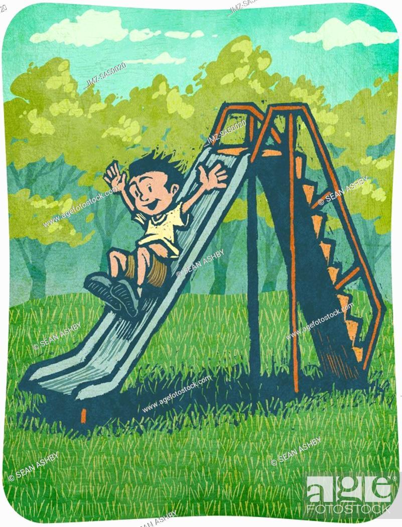 Stock Photo: A little boy going down a slide.