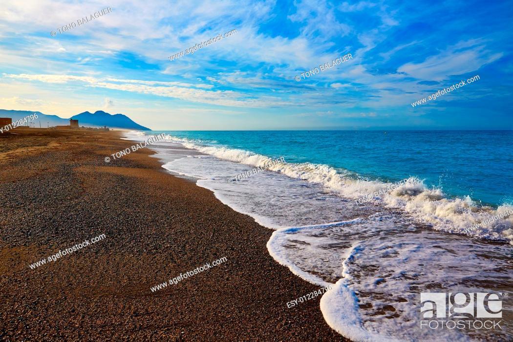 Photo de stock: Almeria Cabo de Gata San Miguel beach shore in Spain.