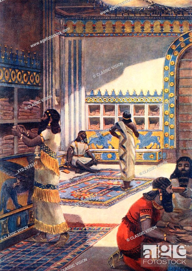 Stock Photo: The famous library of Ashurbanipal in the royal palace at Nineveh. Ashurbanipal also spelled Assurbanipal or Ashshurbanipal, 668 BC-c. 627 BC.
