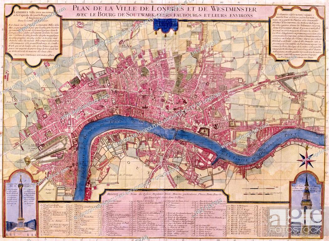 Map Of The City Of London.Map Of London 1727 French Map Of The City Of London City Of