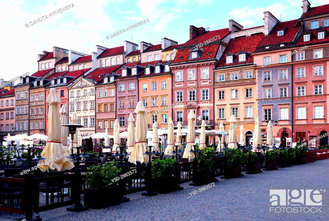 Stock Photo: Facades of historic townhouses, Old Town Market Place - Barssa side, UNESCO World Heritage Site, Warsaw, Poland, Europe.