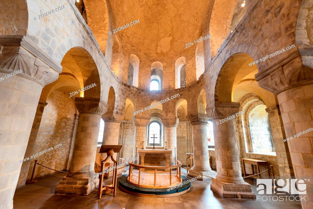 Stock Photo: London, UK - May 12 2019: Romanesque Chapel of St John the Evangelist inside the White Tower building at the Tower of London.